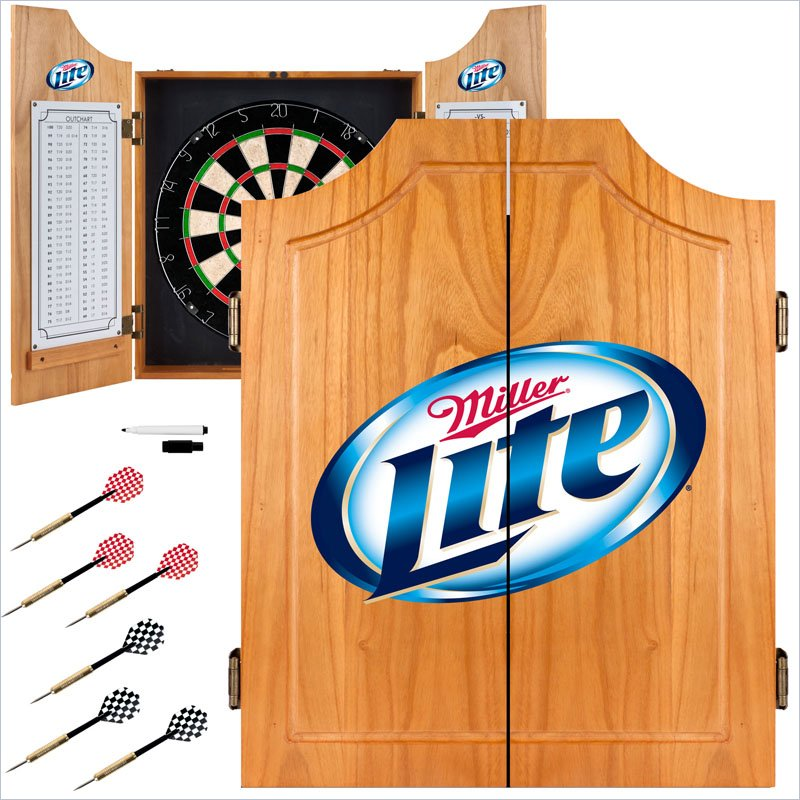 Trademark Miller Lite Dart Cabinet Includes Darts and Board