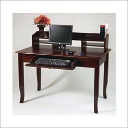 "Office Star 48""  Home Office Wood Writing Desk with Hutch in Walnut"