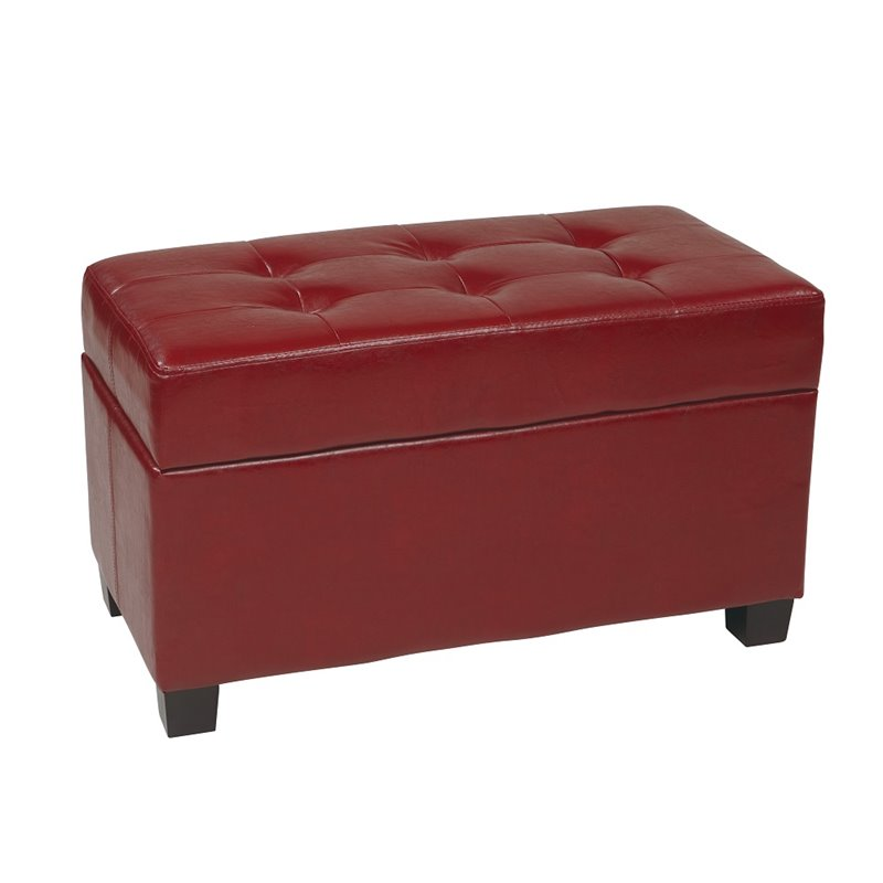Office Star Metro Storage Bench Crimson Red Faux Leather Ottoman Ebay
