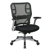Office Star 215 Series SpaceGrid Back Chair with Mesh Seat in Black
