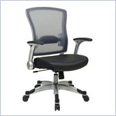 Office Star 317 Series Breathable Mesh Back Chair in Silver and Black