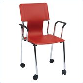 Office Star Dorado Desk Chair with Casters in Red