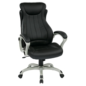 Office Star ECH Series Eco Leather Chair in Black and Silver