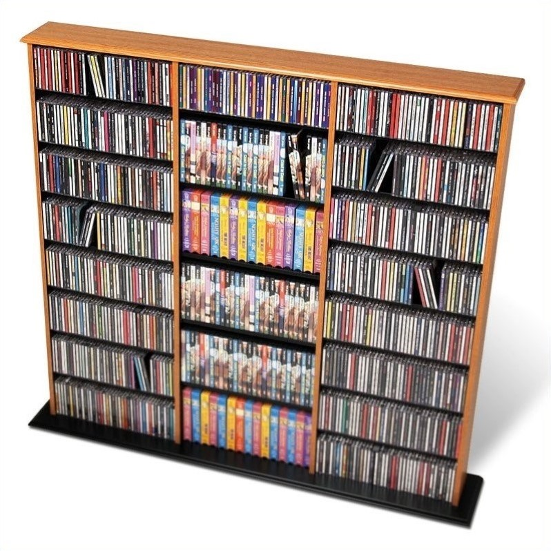 Prepac Triple Width CD DVD Wall Media Storage Tower in Oak and Black at Sears.com