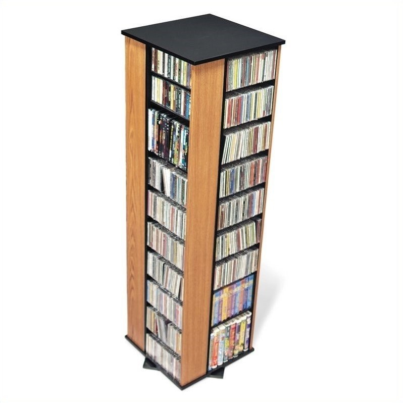 Prepac Large 4-Sided CD DVD Spinning Media Storage Tower in Oak and Black at Sears.com