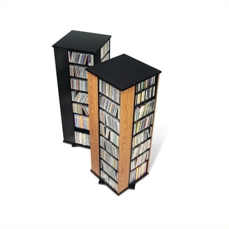 Prepac 4-Sided Spinning CD DVD Media Storage Tower in Oak and Black at Sears.com