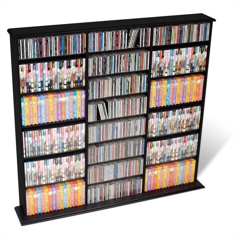 Prepac Triple Width CD DVD Wall Storage Media Tower in Black at Sears.com