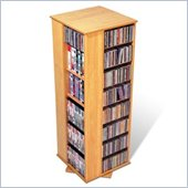 Prepac 4-Sided CD DVD Spinning Media Storage Tower in Maple
