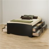 Prepac Sonoma Black Tall Queen Platform Storage Bed with 12 Drawers