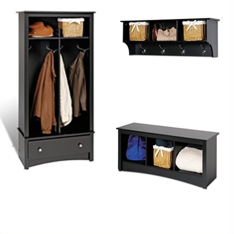 Prepac black sonoma entryway package w cubby bench coat rack hall tree ebay Storage bench with coat rack