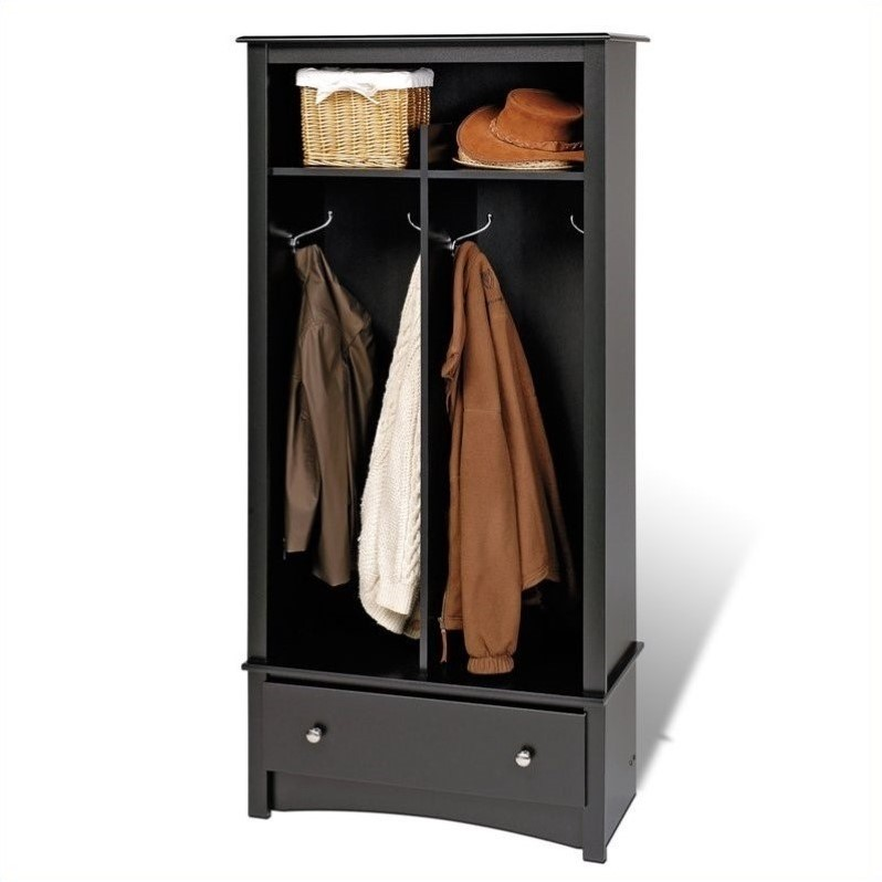 Prepac Black Sonoma Entryway Package w Cubby Bench Coat Rack Hall ...