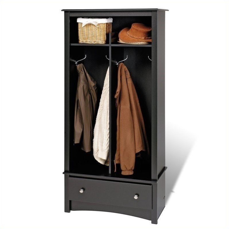 Prepac black sonoma entryway package w cubby bench coat Mudroom bench and coat rack