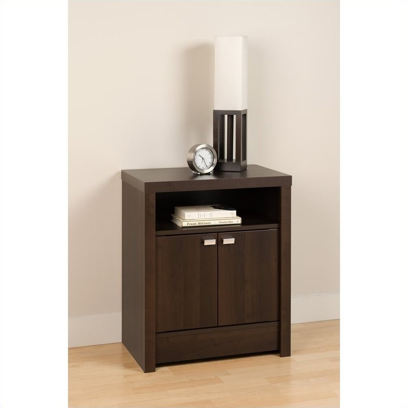 Series 9 designer 2 door tall nightstand in espresso for Extra tall nightstands