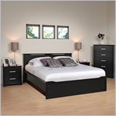 Prepac Coal Harbor 4-Piece Full / Double Bedroom Set in Black