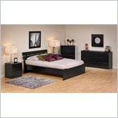 Prepac Avanti 5 Piece Double Platform Bedroom Set in Black