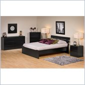 Prepac Avanti 5 Piece Queen Platform Bedroom Set in Black