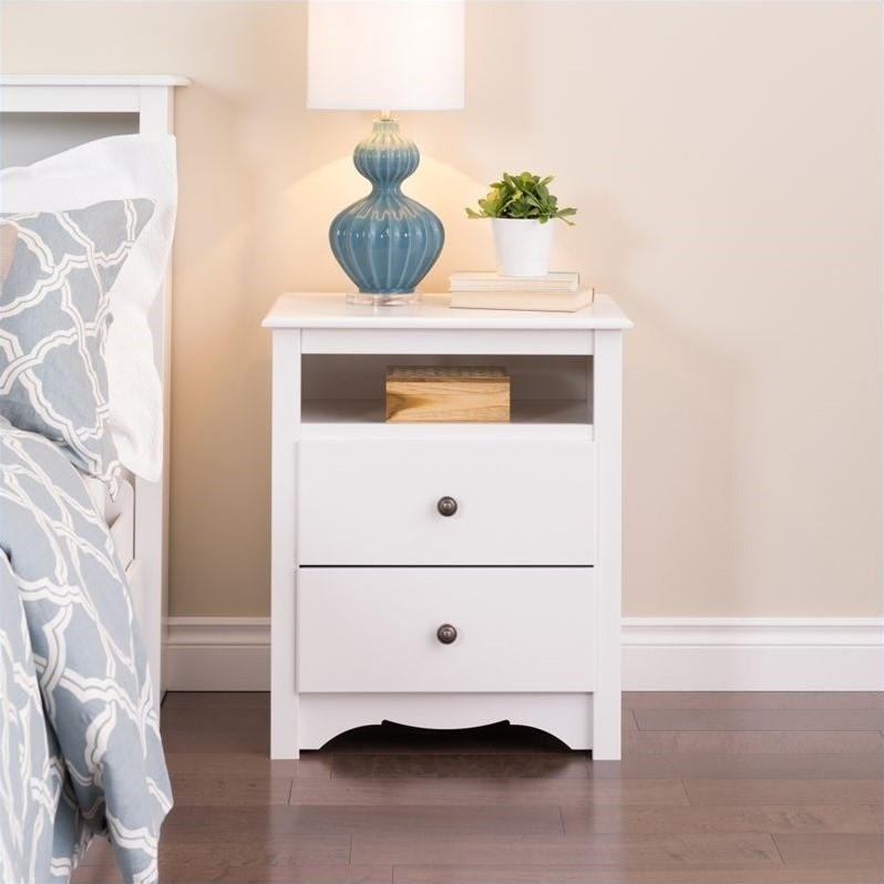 prepac monterey white tall 2 drawer night stand nightstand ebay