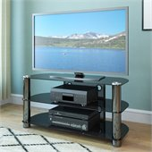 Sonax New York Metal and Glass 50-inch Flat Panel TV Stand in Black