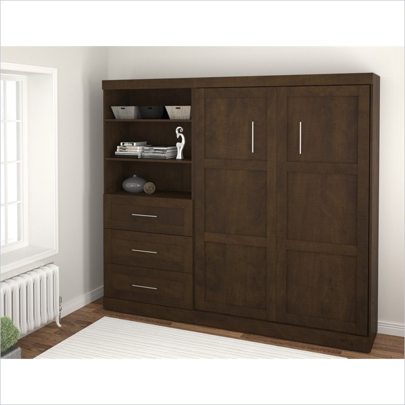 Bestar Pur 2 Piece Full Size Wall Bedroom Set in Chocolate at Sears.com