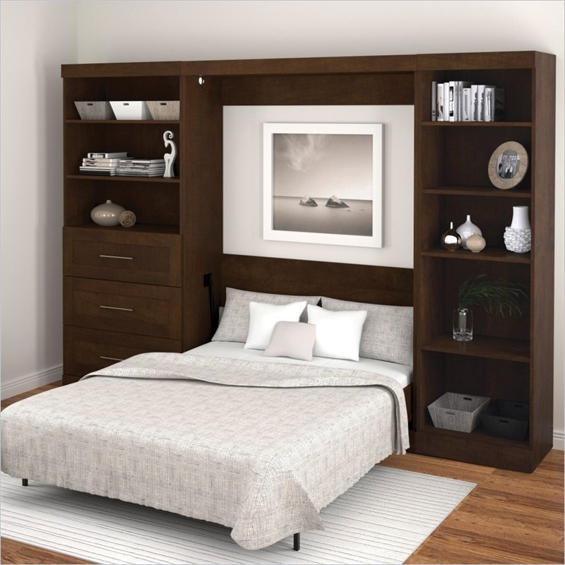 Bestar Pur 3 Piece Full Size Wall Bedroom Set in Chocolate at Sears.com