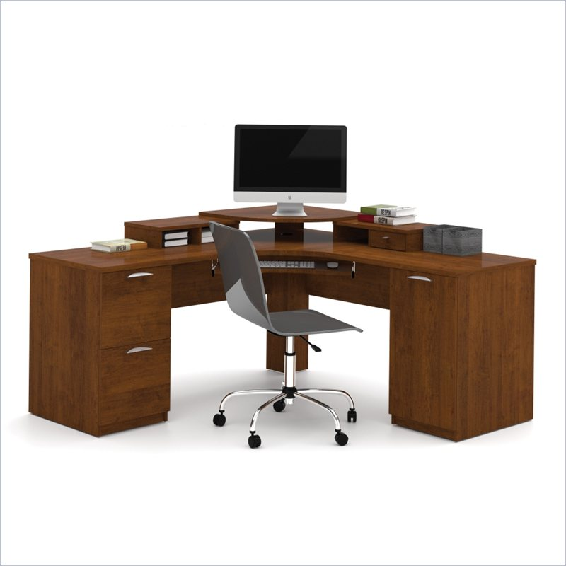 bestar elite home office corner wood tuscany brown computer desk ebay. Black Bedroom Furniture Sets. Home Design Ideas