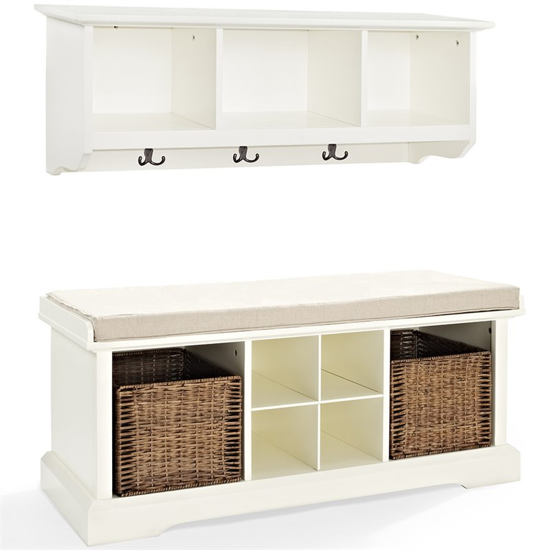 Crosley Furniture Crosley Brennan 2 Piece Entryway Bench and Shelf Set in White at Sears.com