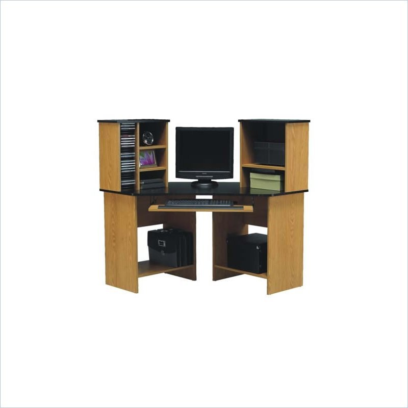 ameriwood wood corner w hutch natural computer desk ebay. Black Bedroom Furniture Sets. Home Design Ideas