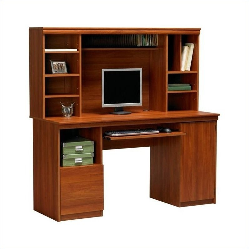 Ameriwood 58 wood w hutch expert plum computer desk ebay - Hutch style computer desk ...
