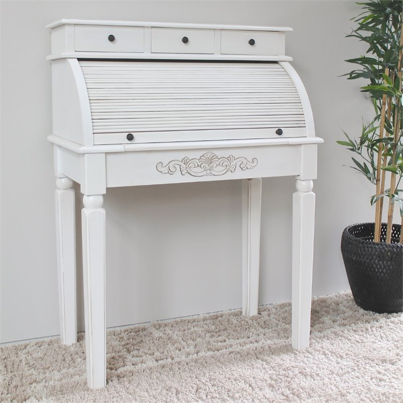 International Caravan Carved Wood Roll Top Desk In White