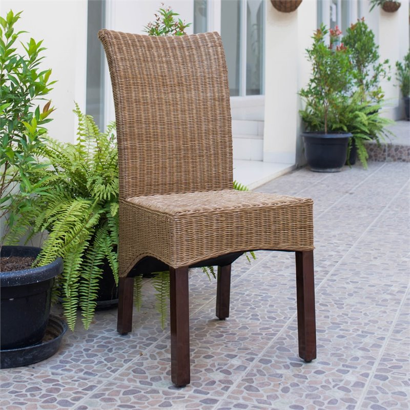 International Caravan Bali Campbell Rattan Wicker Stained Dining Chair Set O