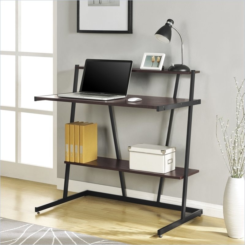 Altra Furniture Small Computer Desk with Shelf in Cherry and Black