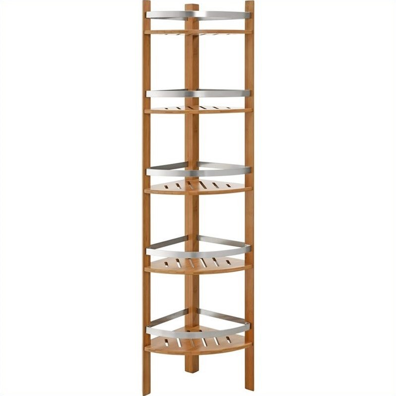 Elegant Naturally Colored Bamboo Frame Supports White Tray MDF Shelves Dedicated For Storing Bathroom Accessories  And This Delightful Towel Rack Is A Perfect Example Of Bamboo Bathroom Furniture The Whole Is Interestingly Designed To