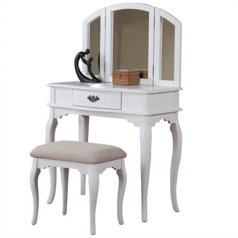 Poundex Bobkona Jaden Vanity Set with Stool in White at Sears.com