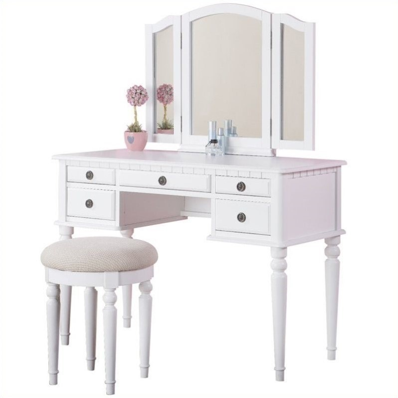Poundex Bobkona St. Croix Vanity Set with Stool in White at Sears.com