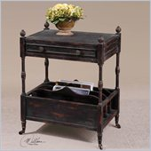 Uttermost Phineas Antiqued Magazine Table in Painted Slate Black