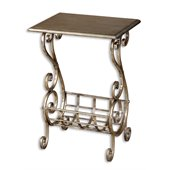 Uttermost Lilah Magazine Table in Lightly Burnished Silver Leaf