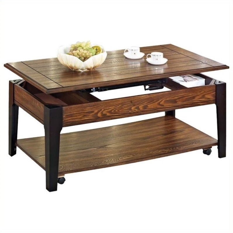Acme Furniture Magus Lift Top Brown Oak Black Coffee Table Ebay
