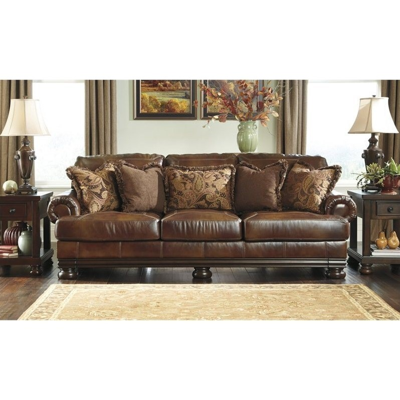 Ashley Furniture Hutcherson Leather Sofa in Harness