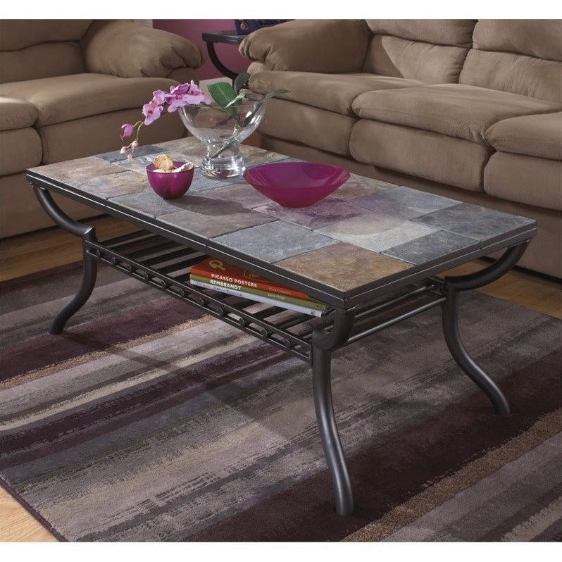 Ashley Antigo Slate Tile Rectangular Coffee Table Mahogany