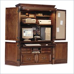 Kathy Ireland Home by Martin Furniture Mount View Computer Armoire in Cobblestone Cherry