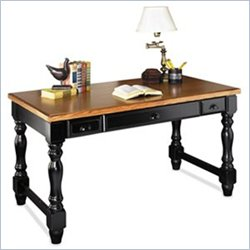 Kathy Ireland Home by Martin Furniture Southampton Wood Writing Desk/Table in Distressed Onyx and Oak