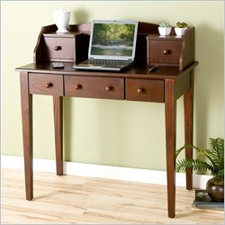 Southern Enterprises Multi-Use Wood Writing & Computer Desk with Hutch in Espresso
