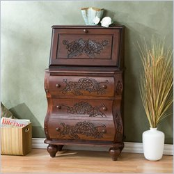 Southern Enterprises Walnut Carved Drop Front File Desk