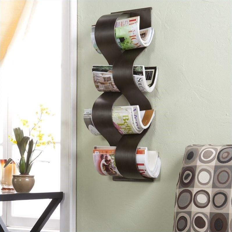 Southern Enterprises Wave Wall Mount Magazine Rack in Brown Brush at Sears.com