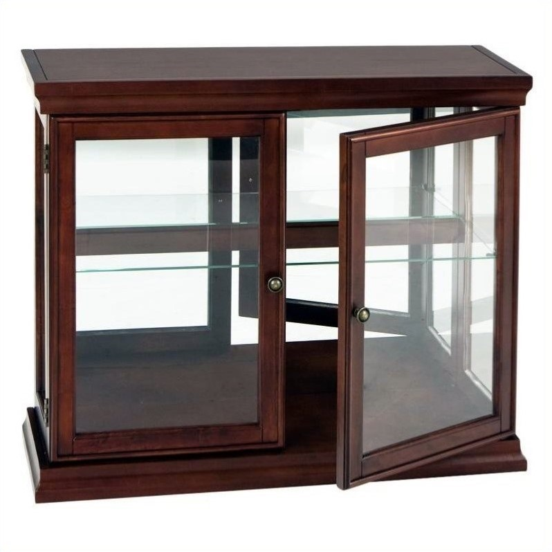 Southern enterprises mahogany console sofa table w gls drs curio cabinet ebay - Sofa table with cabinets ...