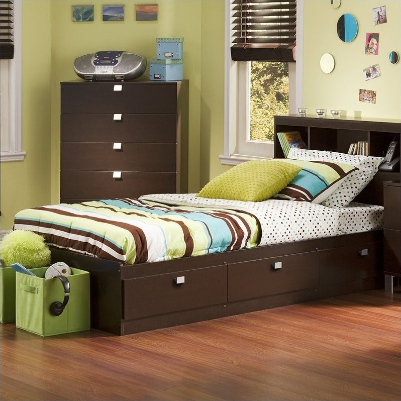 Cakao Kids Twin Storage Mates Bed Frame Only In Chocolate