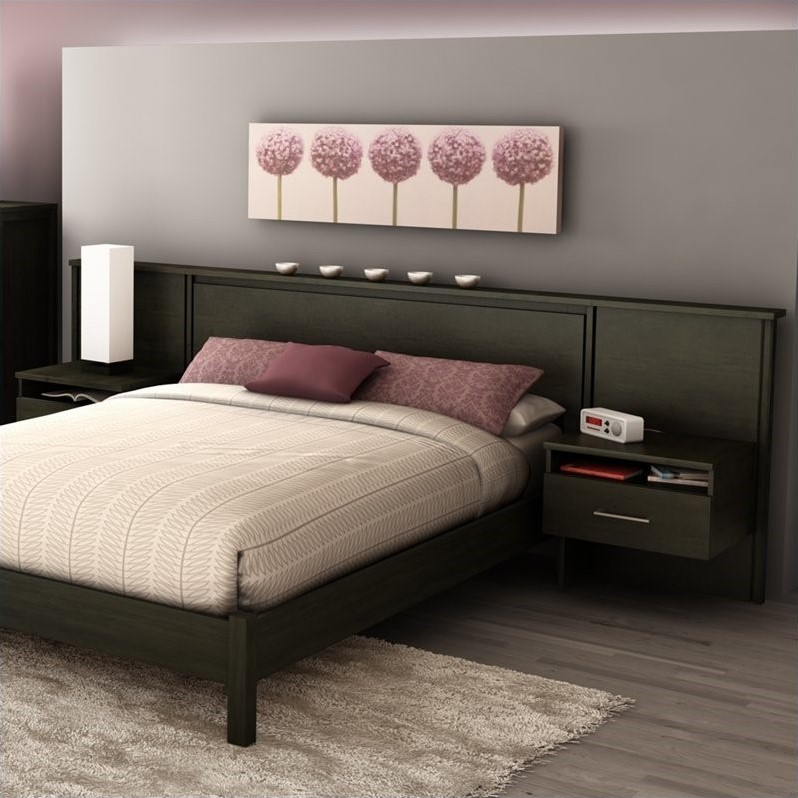 South shore gravity queen platform bed headboard for Bed with floating nightstands