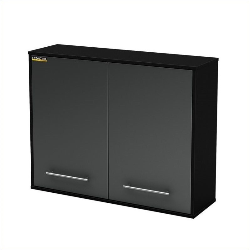 South Shore Karbon Wall Storage Cabinet in Pure Black and Charcoal