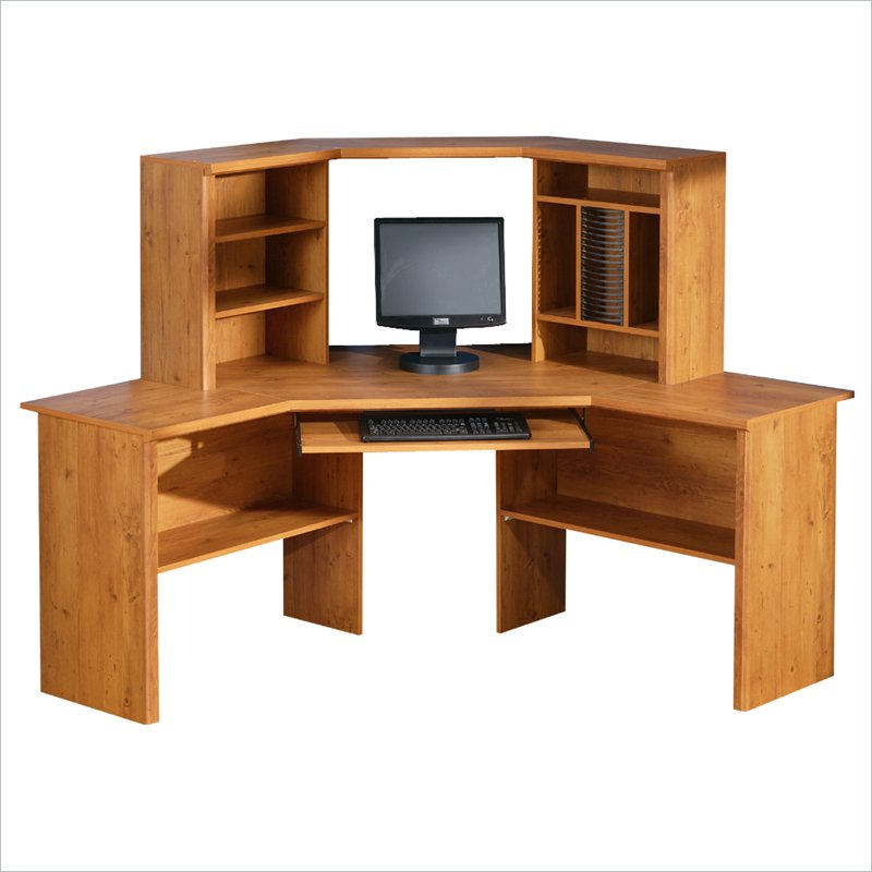 south shore prairie home office corner wood computer desk with hutch