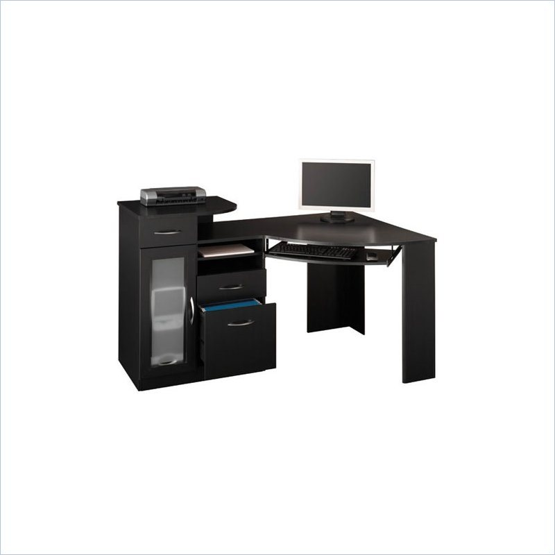 bush vantage corner wood black computer desk ebay. Black Bedroom Furniture Sets. Home Design Ideas